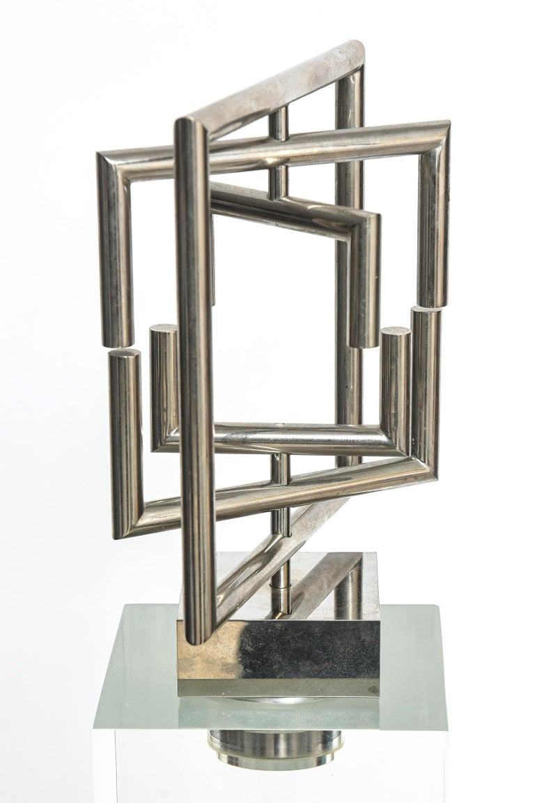 Metal Agam Kinetic Space Divider Sculpture Limited Edition Artist Proof & Lucite Stand For Sale