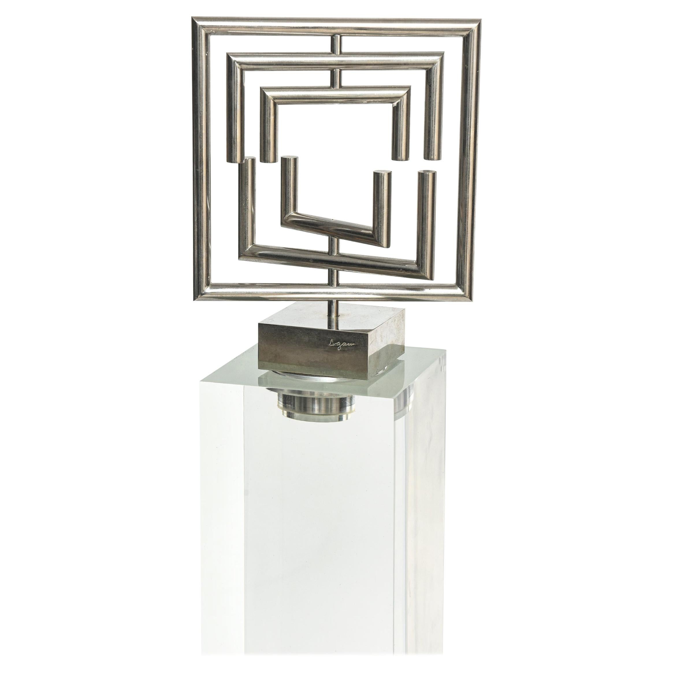 Agam Kinetic Space Divider Sculpture Limited Edition Artist Proof & Lucite Stand
