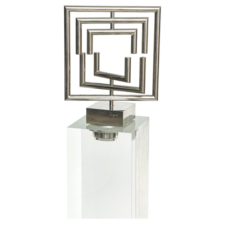 Agam Kinetic Space Divider Sculpture Limited Edition Artist Proof & Lucite Stand For Sale