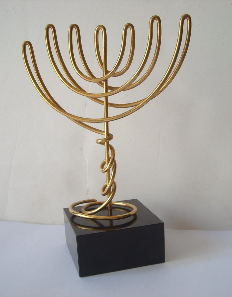 Agam Yaacov Menorah, Sculpture, Gold-Plated Metal, Signed In Excellent Condition For Sale In Los Angeles, CA