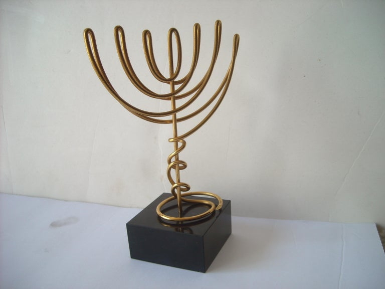 Agam Yaacov Menorah, Sculpture, Gold-Plated Metal, Signed For Sale 2