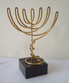 Agam Yaacov Menorah, sculpture , gold plated metal  ,signed.