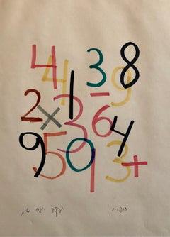 Agam 1977 Paris Kinetic Original Numbers Israeli Drawing Op Art Denise Rene