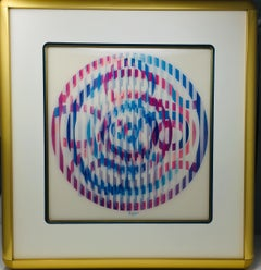 Agam Signed Limited Edition Agamagraph Kinetic Op-Art Abstract Print
