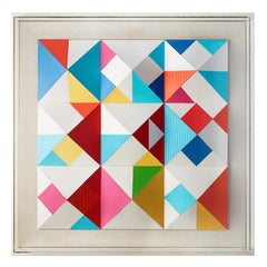 Nines, 3-D Screen Print on folded paper by Yaacov Agam
