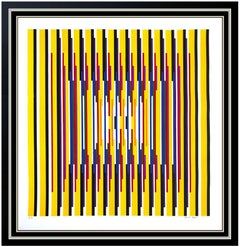 Yaacov Agam Large Original Color Silkscreen Abstract Hand Signed Modern Op Art