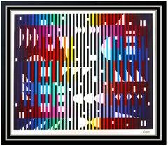 Yaacov Agam Night Rainbow Color Silkscreen Large Signed Modern Op Artwork Framed