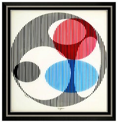 Yaacov Agam Original Color Agamograph Hand Signed Triple Galaxy Framed Op Art