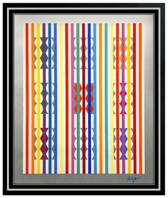 Yaacov Agam Original Color Silkscreen Large Signed Contemporary Modern Op Art