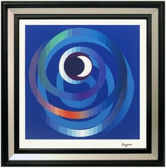 Yaacov Agam Original Giclee On Canvas Sun Moon Intimacy Signed Op Art Agamograph