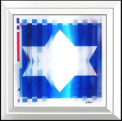 Yaacov Agam RARE Original Color Agamograph Hand Signed Star of David Op Artwork