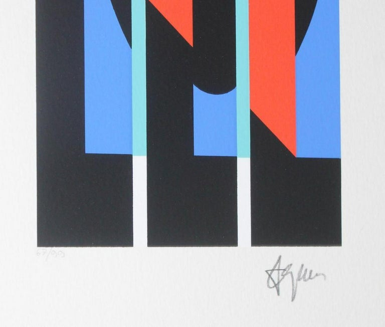 YAACOV AGAM  UNTITLED 4 FROM THE +-X9 SUITE  SIGNED AND NUMBERED - Gray Abstract Print by Agam Yaacov