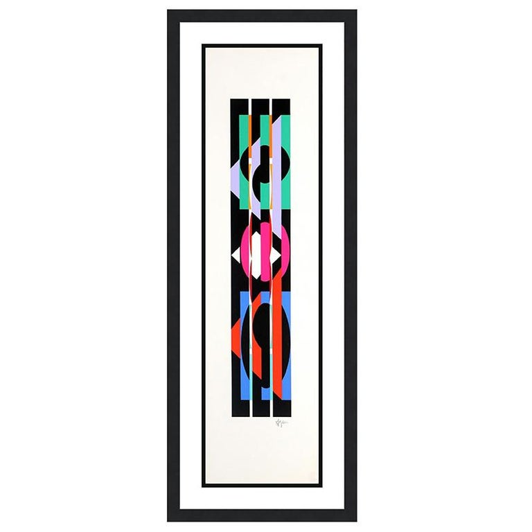 Agam Yaacov  Abstract Print - YAACOV AGAM  UNTITLED 4 FROM THE +-X9 SUITE  SIGNED AND NUMBERED