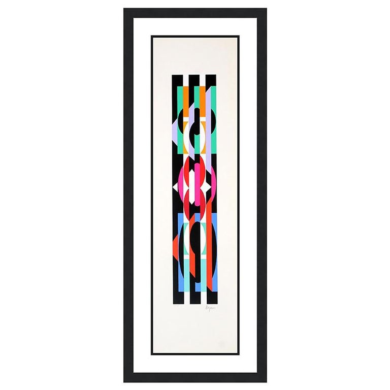 Agam Yaacov  Abstract Print - YAACOV AGAM  UNTITLED 6 FROM THE +-X9 SUITE  SIGNED AND NUMBERED