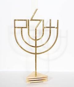 Tri-Base Shalom Menorah, Kinetic Sculpture by Yaacov Agam