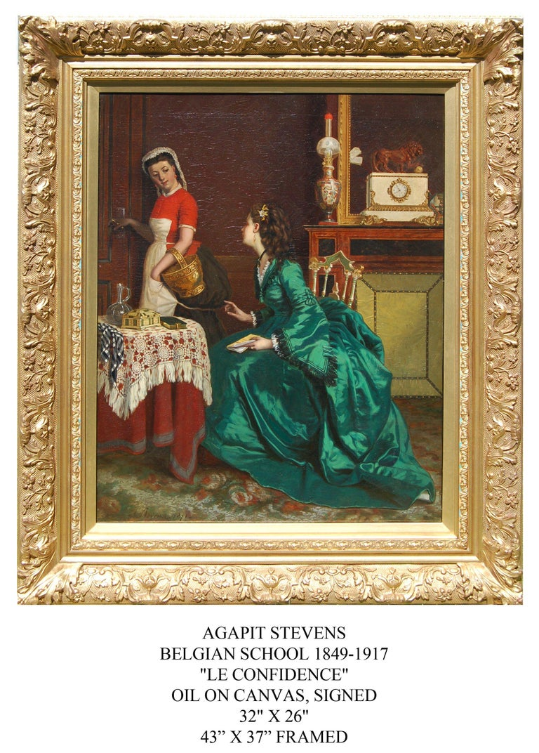 19th century interior portrait of a lady of wealth having a chat with her maid. - Painting by Agapit Stevens