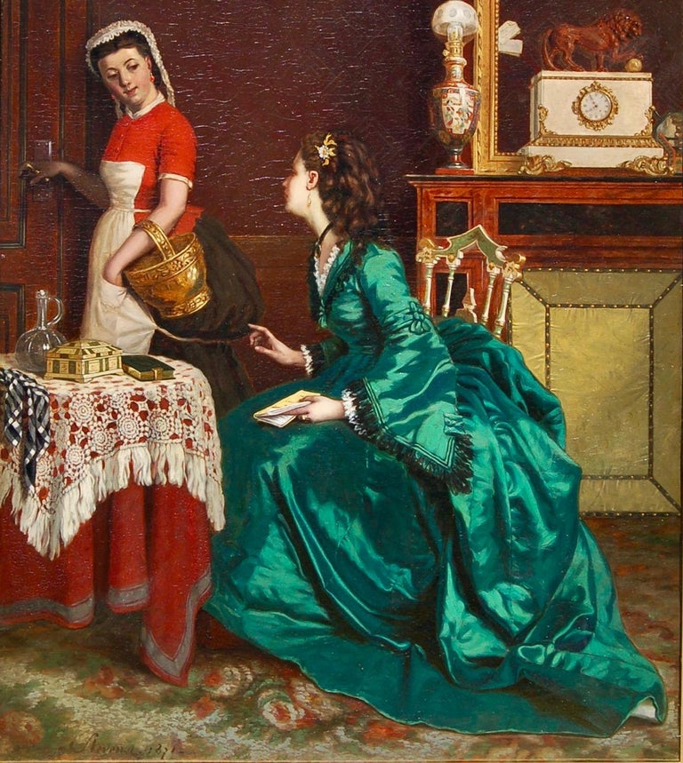 19th century interior portrait of a lady of wealth having a chat with her maid. - Victorian Painting by Agapit Stevens