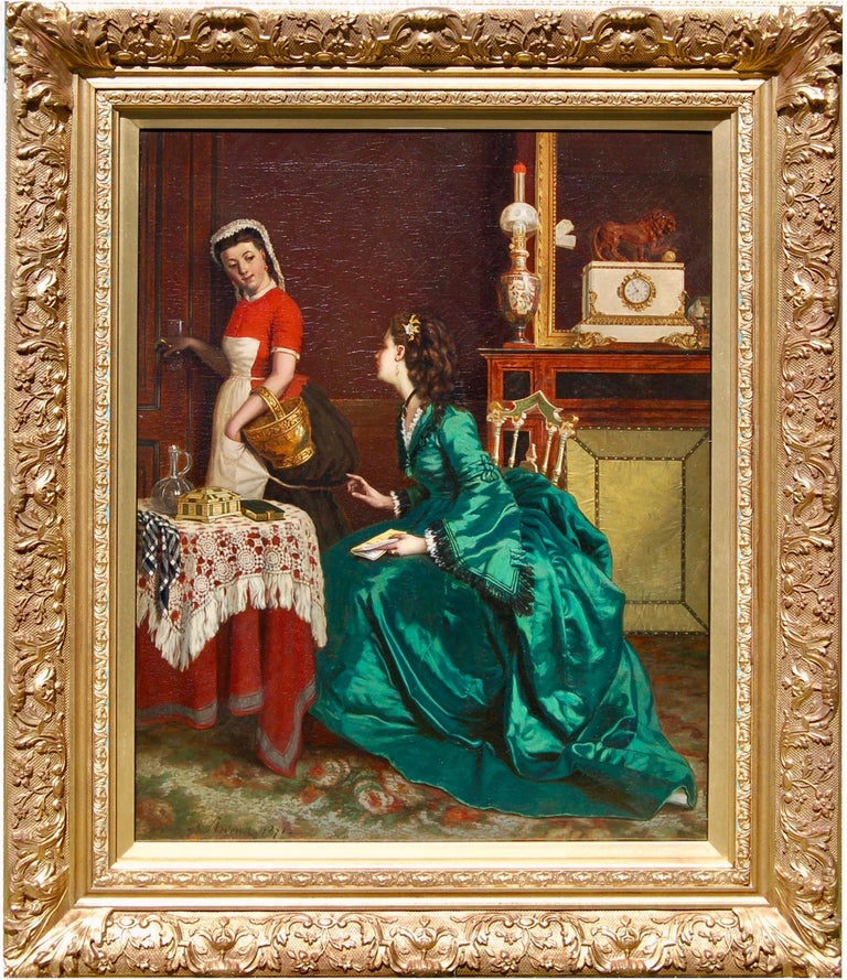Agapit Stevens Figurative Painting - 19th century interior portrait of a lady of wealth having a chat with her maid.