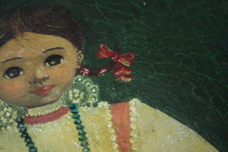 20th Century Agapito Labios Mexican 1898-1996 Oil on Canvas Folk Art For Sale