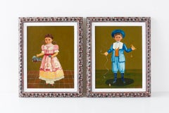 Boy and Girl Mexican Folk Art Paintings