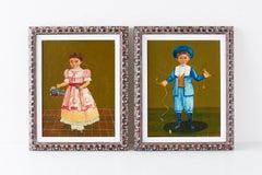 Agapito Labios Boy and Girl Mexican Folk Art Paintings