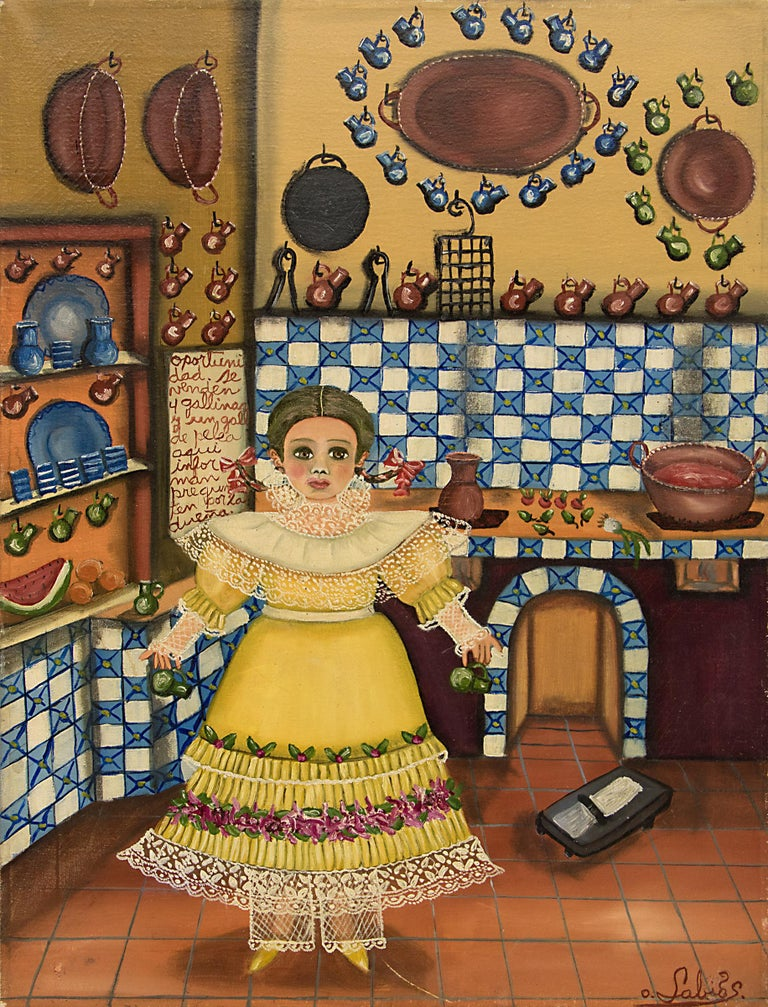 Untitled (Girl in the Kitchen) - Painting by Agapito Labios