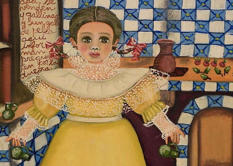 Mexican folk art painting by Agapito Labios (1898-1996) of a girl in a kitchen. Oil on canvas. Presented in a custom frame, outer dimensions measure 28 x 21 x  ¾ inches.  Image size is 22  ¾ x 18 ¼ inches.