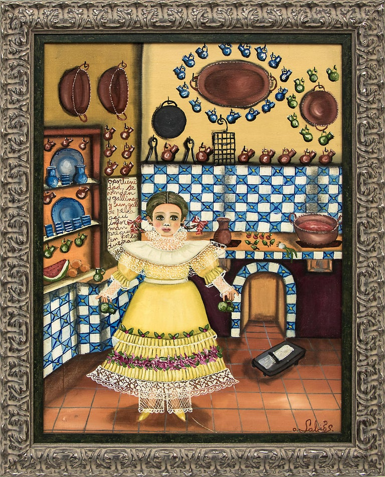 Agapito Labios Portrait Painting - Untitled (Girl in the Kitchen)