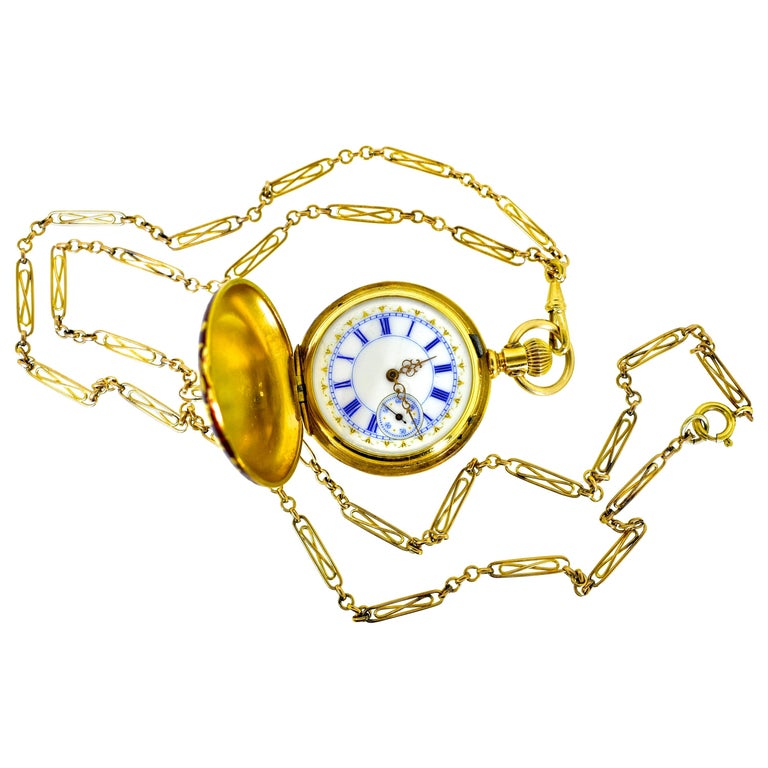 Agassiz Enamel and 18 Karat Gold Antique Watch, circa 1860 For Sale