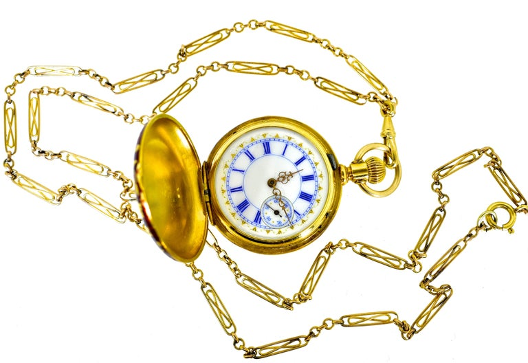 Victorian Agassiz Enamel and 18 Karat Gold Antique Watch, circa 1860 For Sale