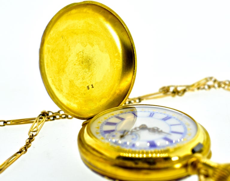 Agassiz Enamel and 18 Karat Gold Antique Watch, circa 1860 For Sale 1