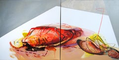 SERIES: MEAT&GEOMETRY - Diptych: Meat and Geometry VI - (Large Format Painting)