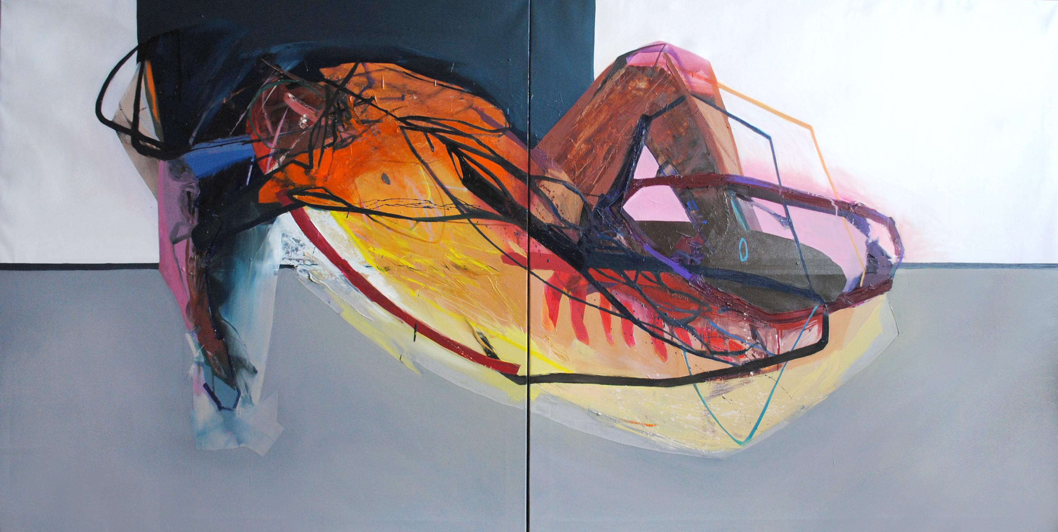 SERIES: MEAT&GEOMETRY - Diptych: Meat and Geometry VIII  (Large Format Painting)
