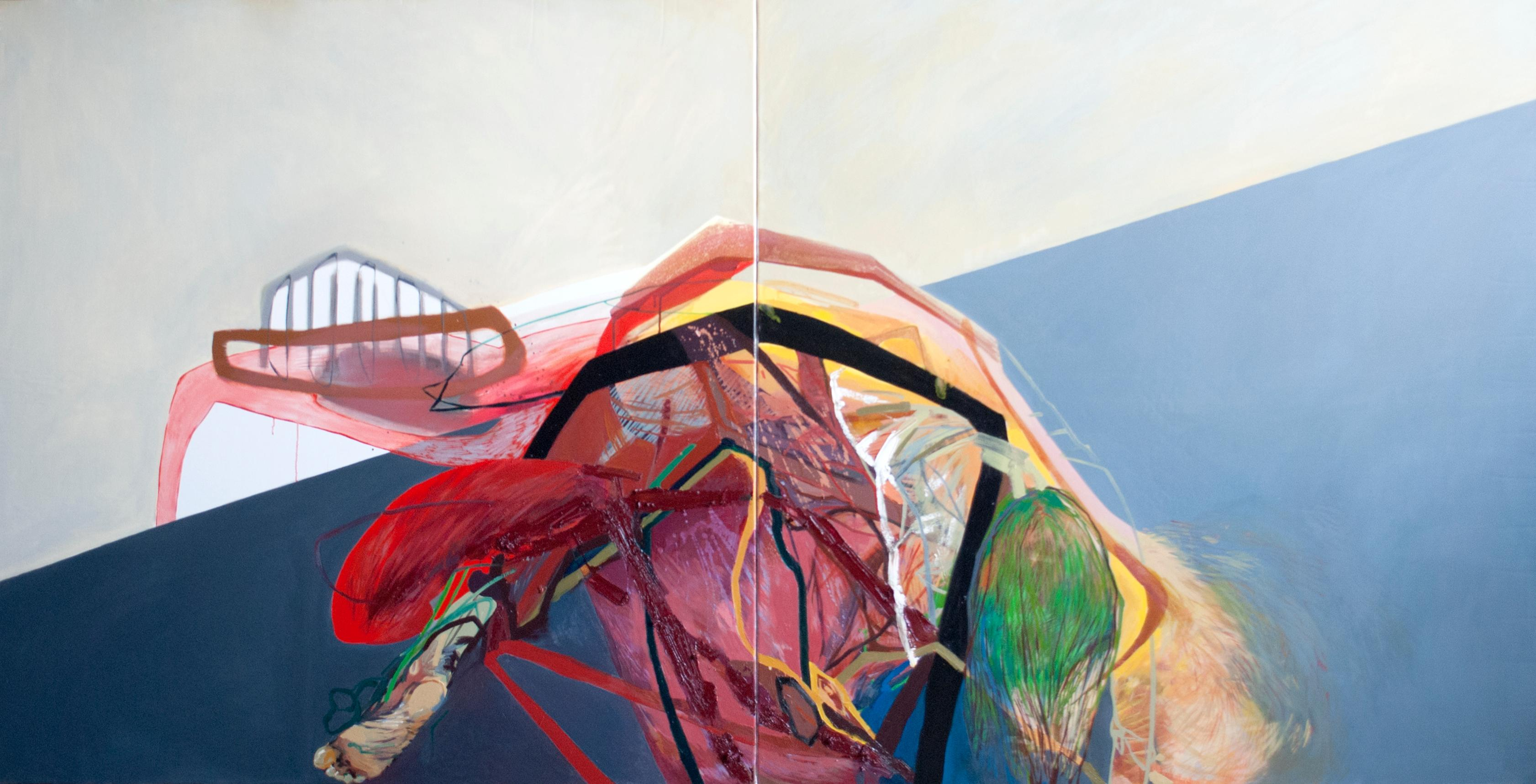 SERIES: MEAT&GEOMETRY -  Diptych: Meat and Geometry X  - (Large Format Painting)