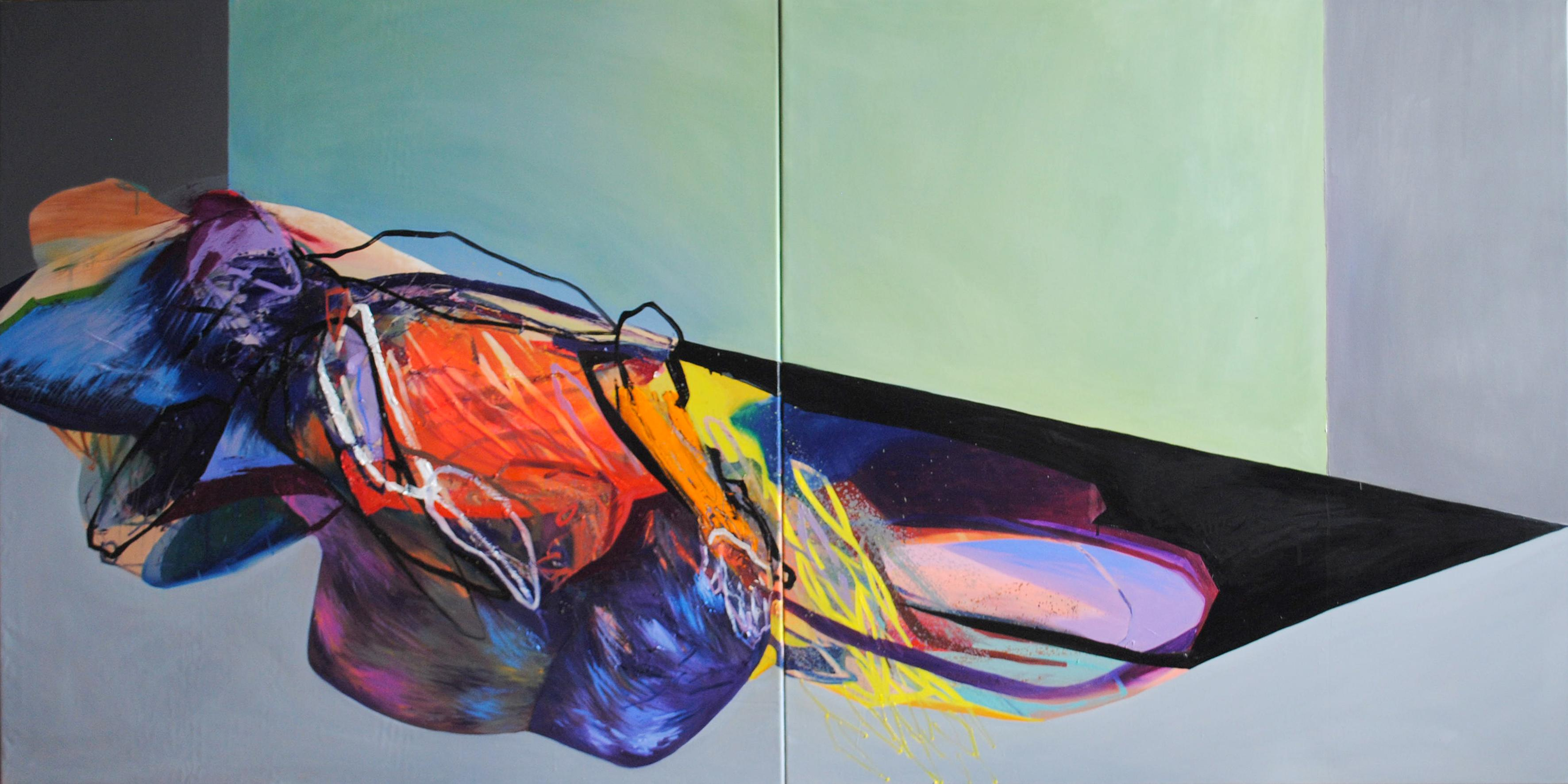 SERIES: MEAT&GEOMETRY - Diptych: Meat and Geometry XII - (Large Format Painting)