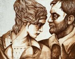 A couple in sepia - Figurative Gouache Painting, Double Portrait, Textured