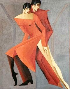 Certainty - XXI Century, Figurative Oil Painting, Couple, Vibrant colors