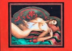 Nude - Figurative Gouache Painting, Female, Art deco, Vibrant colors