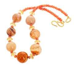 "Gemjunky BoHo Chic Agate & Carnelian & Citrine Unique Handmade 15"" Necklace"