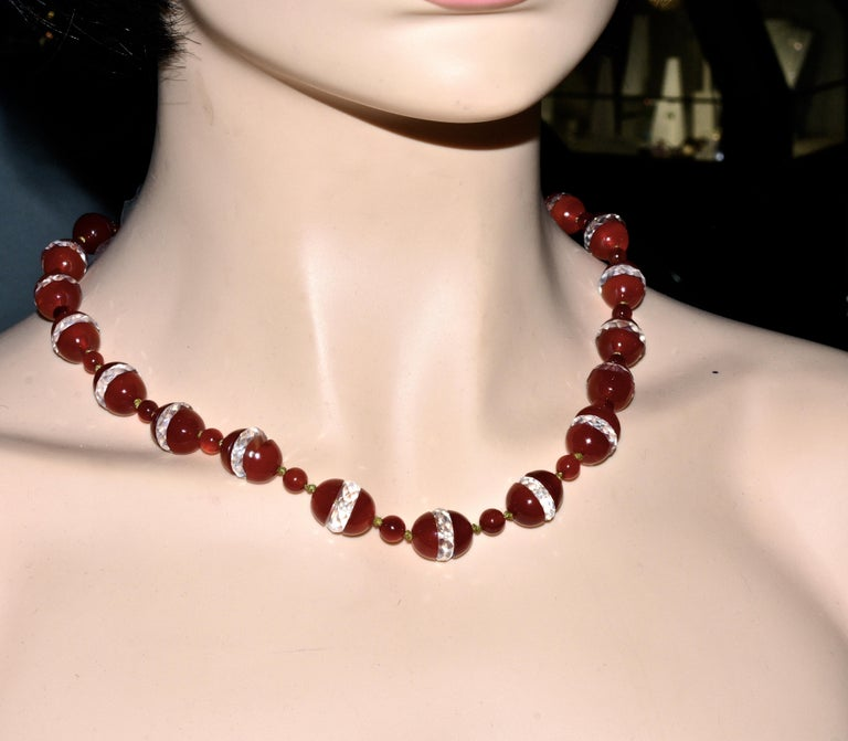 Art Deco Agate and Rock Crystal Necklace, circa 1925 For Sale