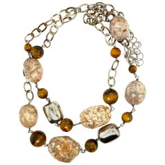 Agate and Tiger's Eye Statement Necklace
