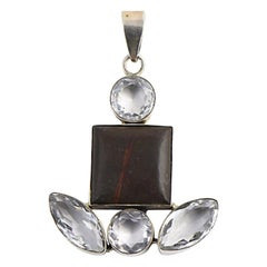 Agate and White Topaz Sterling Silver Pendant