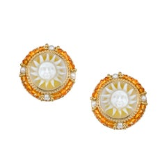 Agate Cameo, Citrine Bead and Pearl 18k Yellow Gold French Clip Post Earrings