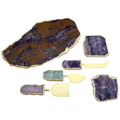 Agate Cheese Board Knives and Coasters