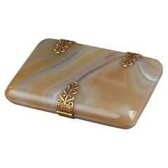 Agate Cigarette or Card Case with Golden Tints
