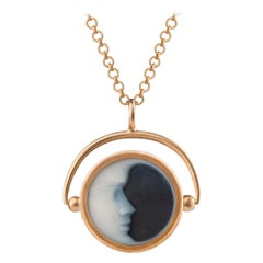 OUROBOROS Agate Crescent Moon Face Gold Pendant & Chain Necklace