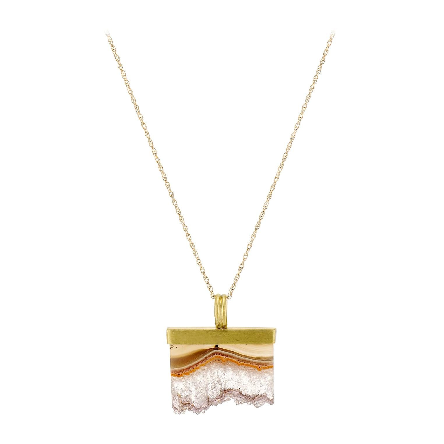 Agate Crystal, Rectangular, Gray, Lavender, Peach, Yellow Gold Pendant Necklace