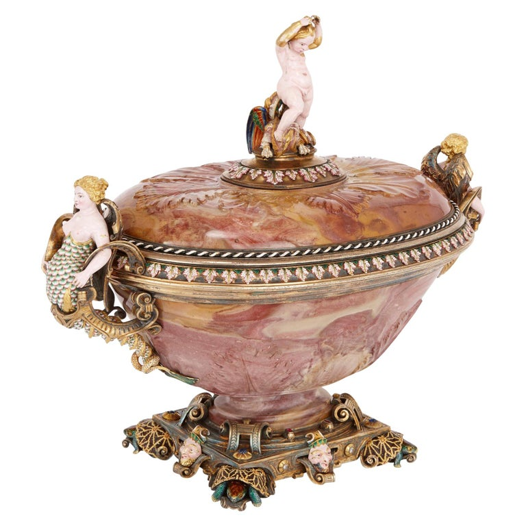 Agate Cup with Jewelled and Enamelled Gold and Silver-Gilt Mounts by Morel For Sale