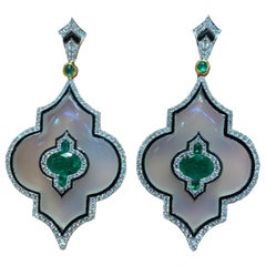 Agate, Emerald and Diamond Chandelier Earrings