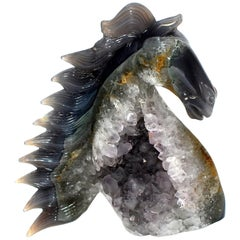 Agate Horse Bust with Green and Orange Crystals